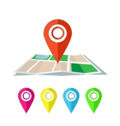 Red marker with flat map vector image