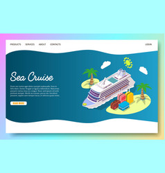 sea cruise website landing page design vector image