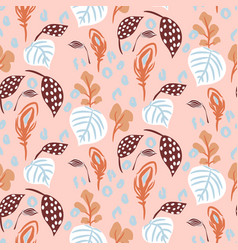 Seamless pattern with florals and botanics plant vector