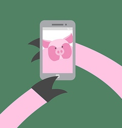 Selfie makes a pig Farm animal photographs vector image