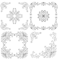 Set abstract floral backgrounds outline vector image