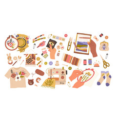 Set embroidery and weaving flat vector