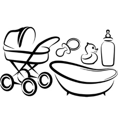 set of baby items vector image