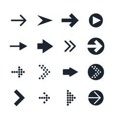 set of black different arrows icon vector image