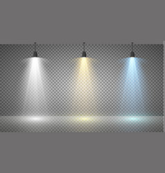 Set of colored searchlights on a transparent vector