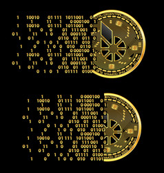 set of crypto currency bitshares golden symbols vector image