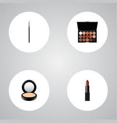 set of greasepaint realistic symbols with lipstick vector image