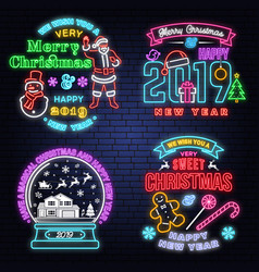set of merry christmas and happy new year neon vector image