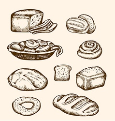 Set of vintage hand drawn bakery vector image