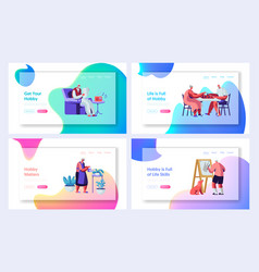 Set senior people hobby and active lifestyle vector