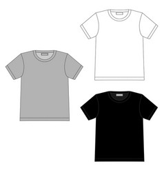 set technical sketch women t shirt isolated on vector image