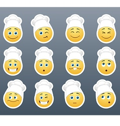 Smileys in white caps vector image