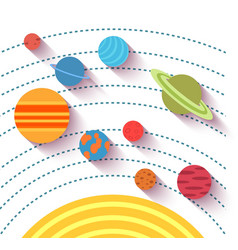 Solar system and space objects set in flat style vector image