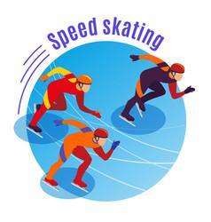Speed skating round background vector