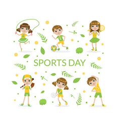Sports banner template with cute kids kids playing vector