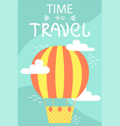 Summer postcard with air baloon cartoon vacations vector