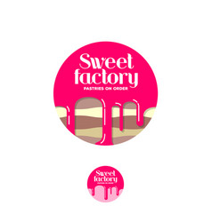 Sweet factory logo pastry emblem cake syrup vector