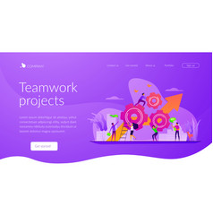 Teamwork power landing page template vector