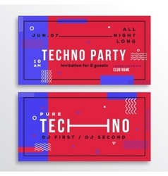 Techno Night Party Club Invitation Card or Flyer vector image