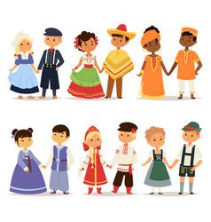 Traditional kids couples character world dress vector