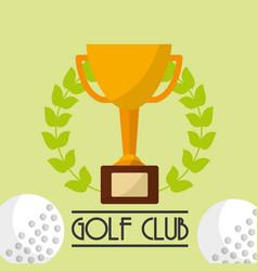 trophy award golf club emblem vector image