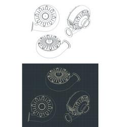 Turbo pump drawings vector