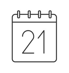 Twenty first day month linear icon vector
