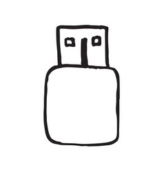usb connector doodle icon vector image
