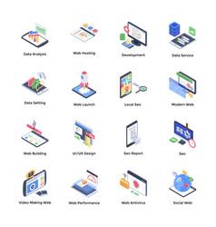 Website development isometric icons vector