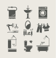 bathroom equipment set icon vector image vector image