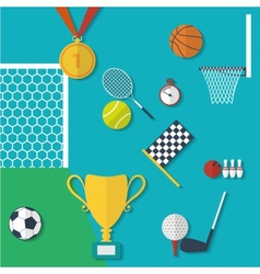 Concept of sports equipment in flat style design vector image vector image