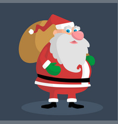 picture of a thick santa with a gift bag vector image