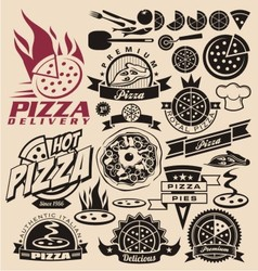 Pizza labels stamps logos and icons vector image vector image