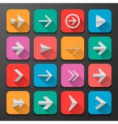 Set arrows icons flat UI design trend vector image