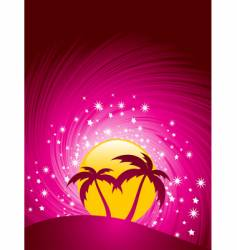 tropical paradise sunset vector image vector image
