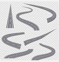 winding curved road or highway with markings vector image vector image