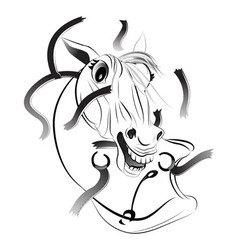 A horse a symbol of 2014 vector image