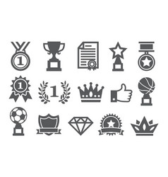 awards icons set vector image