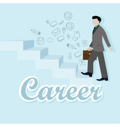 business man step up career climbing stairs vector image