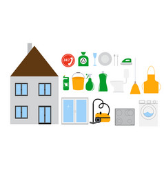 house cleaning tools icon set on modern flat style vector image