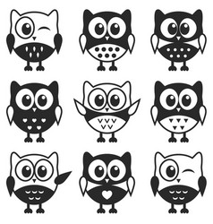 set of black and white owls and owlets vector image