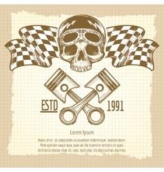 Sketch of vintage biker rider skull vector image