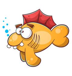 cartoon fish tooth water eye vector image