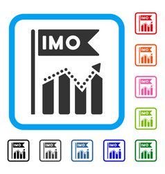 Imo chart trend framed icon vector