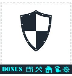 Shield icon flat vector image vector image