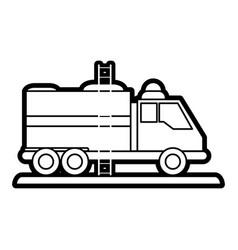Fire truck puts out fire vector