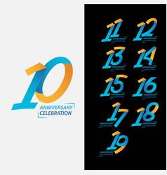 10 year anniversary celebration set template vector