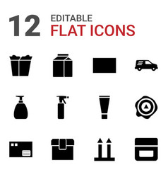 12 packaging icons vector