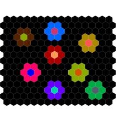 Atari hexagonal flowers vector
