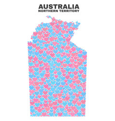Australian northern territory map - mosaic of love vector